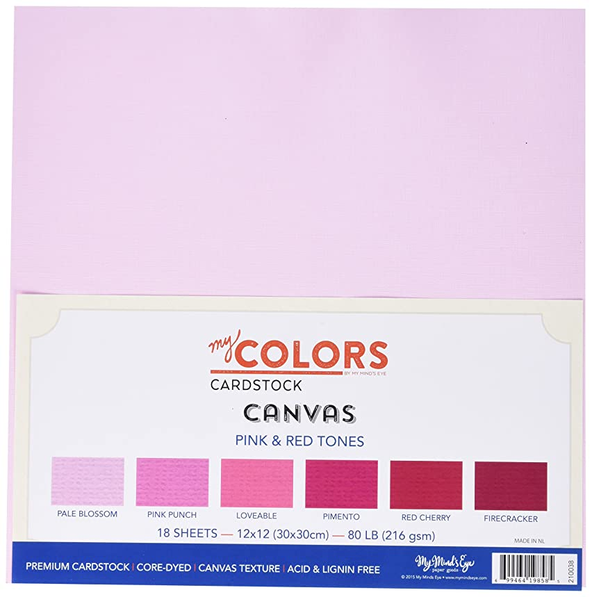 My Colors 210038 Pink & Red Tones Canvas Cardstock Bundle (18 Pack), 12