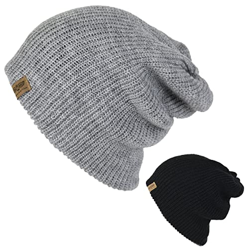 Men s Basic Reversible Slouch Beanie- Long Hipster Oversized Ribbed Knit  Winter Skull Hat a277bf251a5