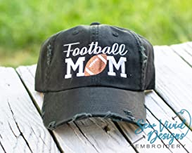 Personalized Football Mom Hat | Embroidered Women's High Ponytail, Baseball or Trucker Cap, Distressed Vintage Style Hat | Custom embroidered