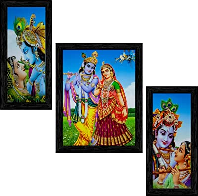 Indianara Set of 3 Radha Krishna Framed Painting (3524BK) without glass 6 X 13, 10.2 X 13, 6 X 13 INCH