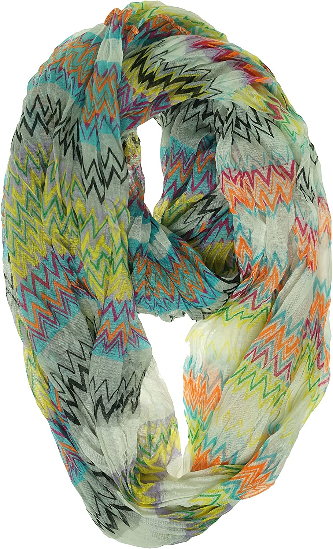 Cejon Chevron Print Infinity Loop White Multi color