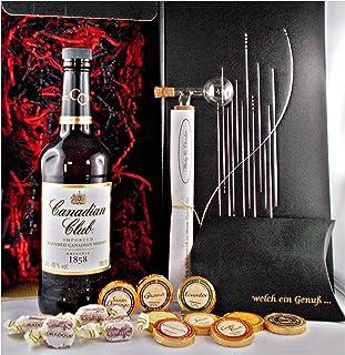 Geschenk Canadian Club kanadischer Whisky  Glaskugelportionierer  Edelschokolade  Fudge