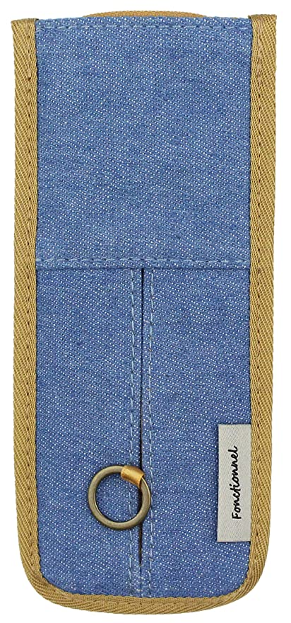 オート議論する枕ファニーズ ペンケース ブックバンド付き スライドペン入れ 縦 デニムBL 11475