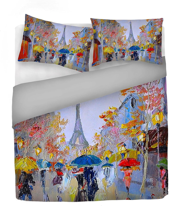 """Italian Bed Linen Housse de couette """"Sogni d'Autore""""avec impression digitale, 100% coton, fabriqué en Italie, 100, SD10, 2 Places Sd18"""