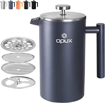 OPUX Premium Stainless Steel French Press, Double Wall Coffee Maker | Thermal Insulated Press Pot | 34 fl oz/1 Liter, Dishwasher Safe, Extra Filters (Matte Grey)