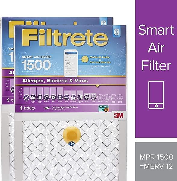 Filtrete 20x25x1 Smart Air Filter MPR 1500 Allergen Bacteria Virus AC Furnace Air Filter 2 Pack S UR03 2PK 6E