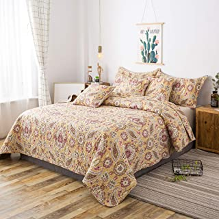 Tache Gold Royal Medallion Boho Chic Yellow - Unique Artsy Floral Paisley Summer Lightweight Quilt Bedspread Coverlet - 3 Piece Set - California King
