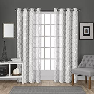 Exclusive Home Curtains Panza Sheer Grommet Top Panel Pair, Winter White, Silver, 54x96, 2 Piece