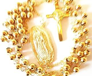 Oro 18K Rosario de Virgin de Guadalupe Joyería de Cadena Jesús católico confirmación crucifijo Art Deco