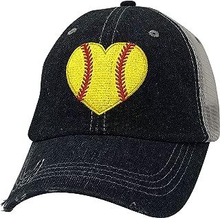 Embroidered Softball Heart Love Softball Mom Mesh Trucker Style Hat Cap Dark Grey