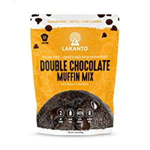Lakanto Double Chocolate Muffin Mix - Sugar Free, Sweetened with Monkfruit Sweetener, 2g Net Carbs, Dairy Free, Gluten Free, Keto Diet Friendly, Almond Flour, Dutched Cocoa, Sea Salt (12 Cookies)