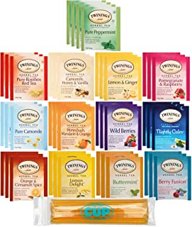 Twinings Herbal Tea Bags - 40 Individually Wrapped Tea Bags, Pure Peppermint, Camomile, Rooibos Red, Honeybush Mandarin Or...