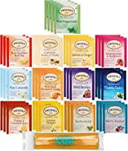 Twinings Herbal Tea Bags - 40 Individually Wrapped Tea Bags, Pure Peppermint, Camomile, Rooibos Red, Honeybush Mandarin Orange, Plus 9 More Flavors - with By The Cup Honey Sticks