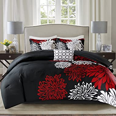 Comfort Spaces Enya 5 Piece Comforter Set Ultra Soft Hypoallergenic Microfiber Floral Print Bedding, Queen, Black/Red