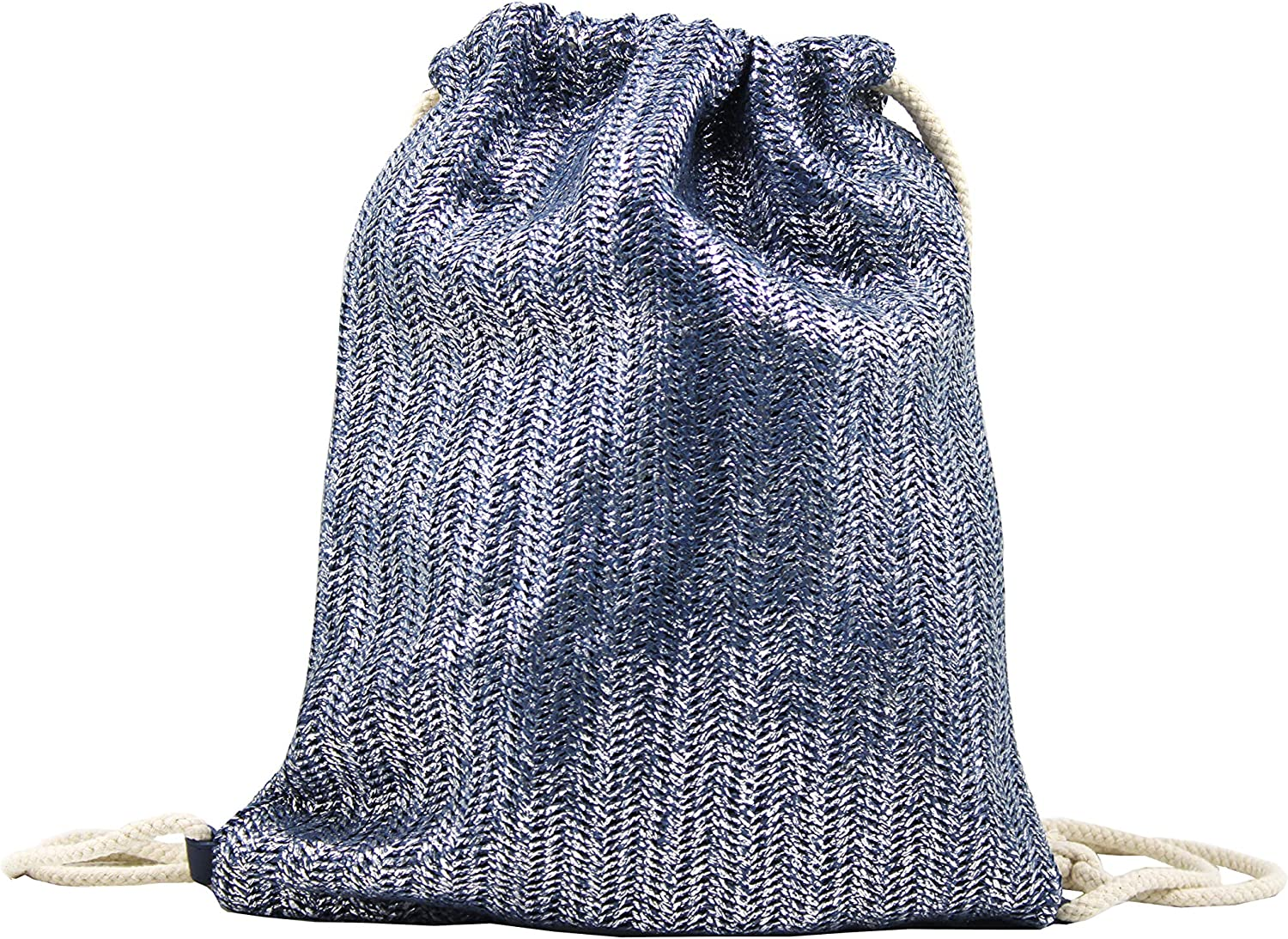 Ecyesegift Drawstring Backpack Lightweight Sackpack String bag for Girls and Women Silver
