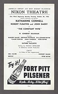 "Katharine Cornell""THE CONSTANT WIFE"" W. Somerset Maugham 1952 Pittsburgh Broadside"
