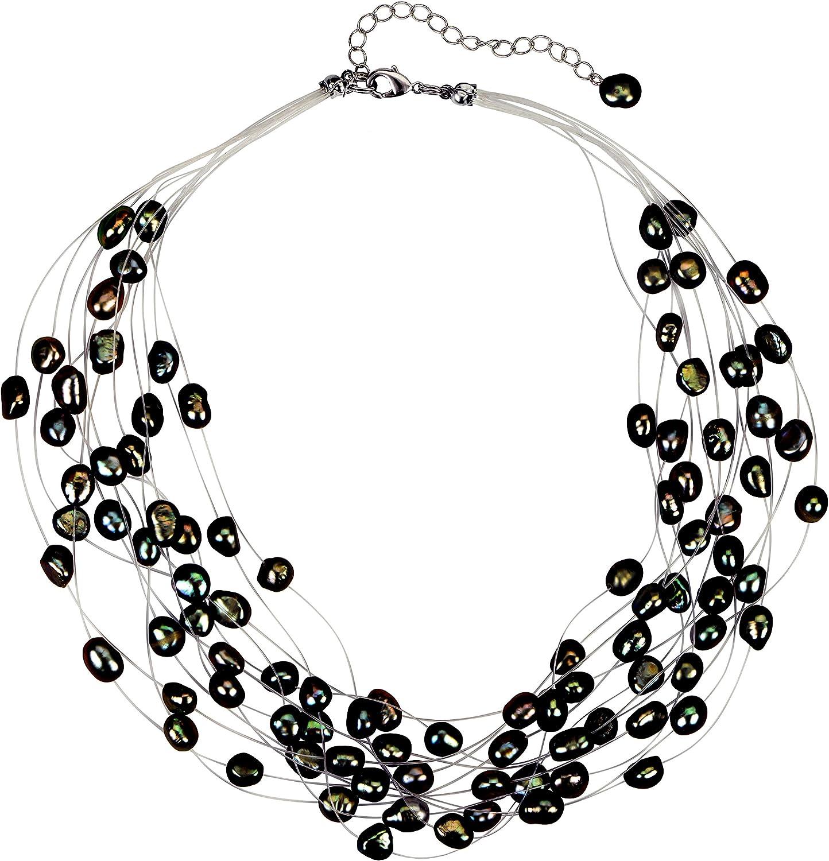 Regalia Multi Strand Baroque Black Freshwater Cultured Pearl Necklace