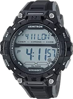 ساعة رياضية للرجال مع مينا رقمية وعرض كرونوغراف وسوار من الراتنج من ارميترون، طراز 40/8455