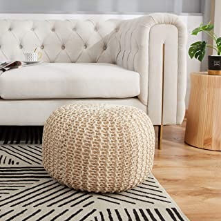 "Cheer Collection 18"" Round Pouf Ottoman - Chunky Hand-Knit Decorative and Comfortable Foot Rest, Taupe"