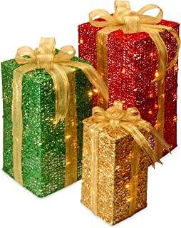 National Tree Set of 3 Gift Boxes with 70 Clear Mini Lights (DF-070001U)