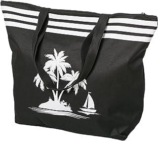 AIREE FAIREE Strandtasche Damen Schultertasche Shopper Sommer TascheVerschluss Reißverschluss Größe 50 x 40 x 16 cm Palme-...