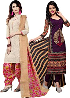 Rajnandini Women's Purple and Beige Cotton Printed Unstitched Salwar Suit Material (Combo Of 2) (Free Size)