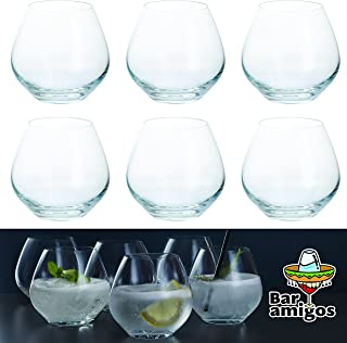 Bar Amigos Set of 6 - Stemless Copa Gin and Tonic Glasses | G&T Cup Large Cocktail Party Balloon Glass | Lead Free Crystal | Dishwasher safe | 440ml