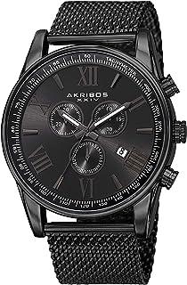 Akribos XXIV Swiss Chronograph Men's Watch - 3 Subdials with Date Window Sunburst Dial On Stainless Steel Mesh Strap - AK813