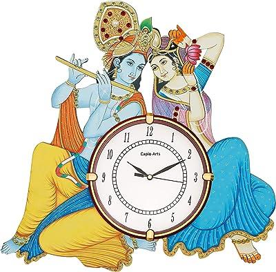 CAPIO ART Wooden Handmade Radha Krishna Antique Wall Clock for Home Wall Decor Round Handicraft Wall Clock Easy to Read Vintage Wall Clock for Bedroom Office & Bedroom Decor (17 x 14 Inch)