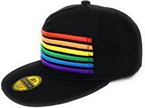 Pride Rainbow Stripes Snapback Hat LGBT Bright Trucker Baseball Cap