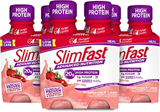 Slimfast Advanced Nutrition Meal replacement protein Shake, Strawberries & Cream, Ready To Drink - 20g of Protein - Keto F...
