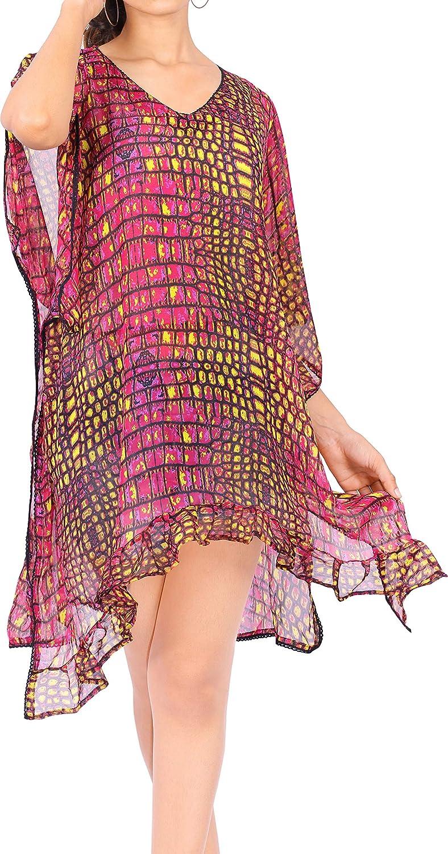 LA LEELA Washington Mall Women's Plus Size Caftan Free shipping on posting reviews Swimwear Ups Dres Cover Bikini