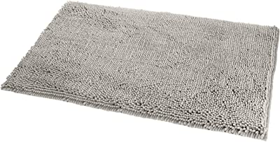 "Amazon Basics Non-Slip Microfiber Shag Bathroom Rug Mat, 21"" x 34"", Platinum"