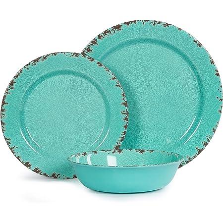 Set Of 14 Tommy Bahama Light Blue Crackle Melamine 8 PLATES 4 BOWLS UTENSIL SET