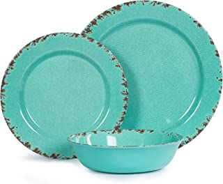 12pcs Melamine Dinnerware set for 4, Outdoor Use Dinner Plates and Bowls Set for Camping, Unbreakable, Turquoise