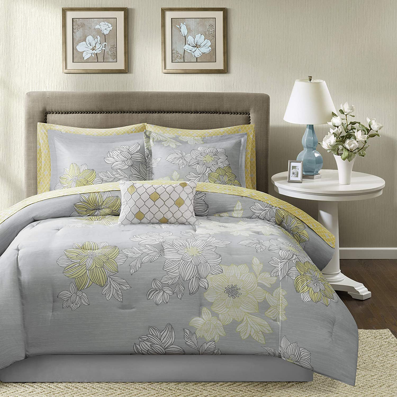 """Madison Park Essentials Cozy Bed in A Bag Comforter with Complete Cotton Sheet Set-Trendy Floral Design All Season Cover, Decorative Pillow, Twin(68""""x86""""), Avalon, Grey, 7 Piece"""