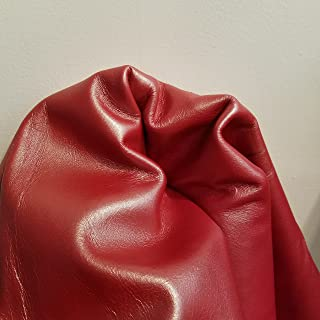 NAT Leathers Red Shimmer Soft Nappa Leather 2.0-2.5 Upholstery Craft, Shoe, Bookbinding Handbag Cowhide Genuine Cow Leather Hide Skin (12 inch x 12 inch)