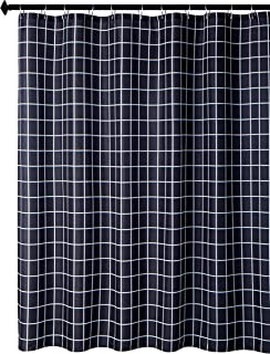 Biscaynebay Textured Fabric Shower Curtain, Checkered Printed Bathroom Curtain, Black 72 Width by 84 Length Inches