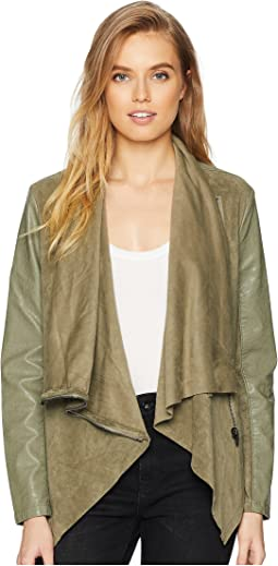 Faux Suede Drape Front Jacket in Olive