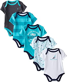 Nautica Boys' Newborn Five-Pack Bodysuits