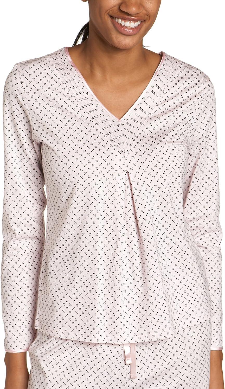 half Nautica Women's Milwaukee Mall Dot Print Knit Sleeve Sleep V-Neck Long Top