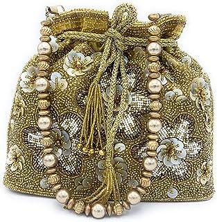WOMEN'S DESIGNER ELEGANT ROYAL HANDMADE POTLI BAG/HANDBAG/PURSE/CLUTCH BAG ADORA ACI 094 SILVER-GOLD