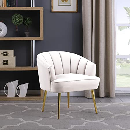 Morden Fort Velvet Barrel Club Chair Accent Armchair with Golden Legs for Living Room Bedroom Home Office Conner-White