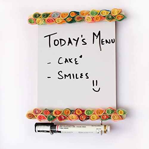 IVEI Wooden Utility Fridge Magnet with Hooks - Easy to Wipe White Board - Dry Erase Board - Paper Quilling on a Woode...