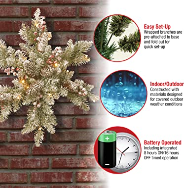 National Tree Company lit Artificial Christmas Star-Shaped Wreath Includes Pre-strung White LED Lights Dunhill Fir Snowy Snow