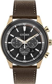 Citizen 西铁城 男式手表 太阳能 黑色表盘 模拟显示 棕色皮革表带 ca4346?–?06h