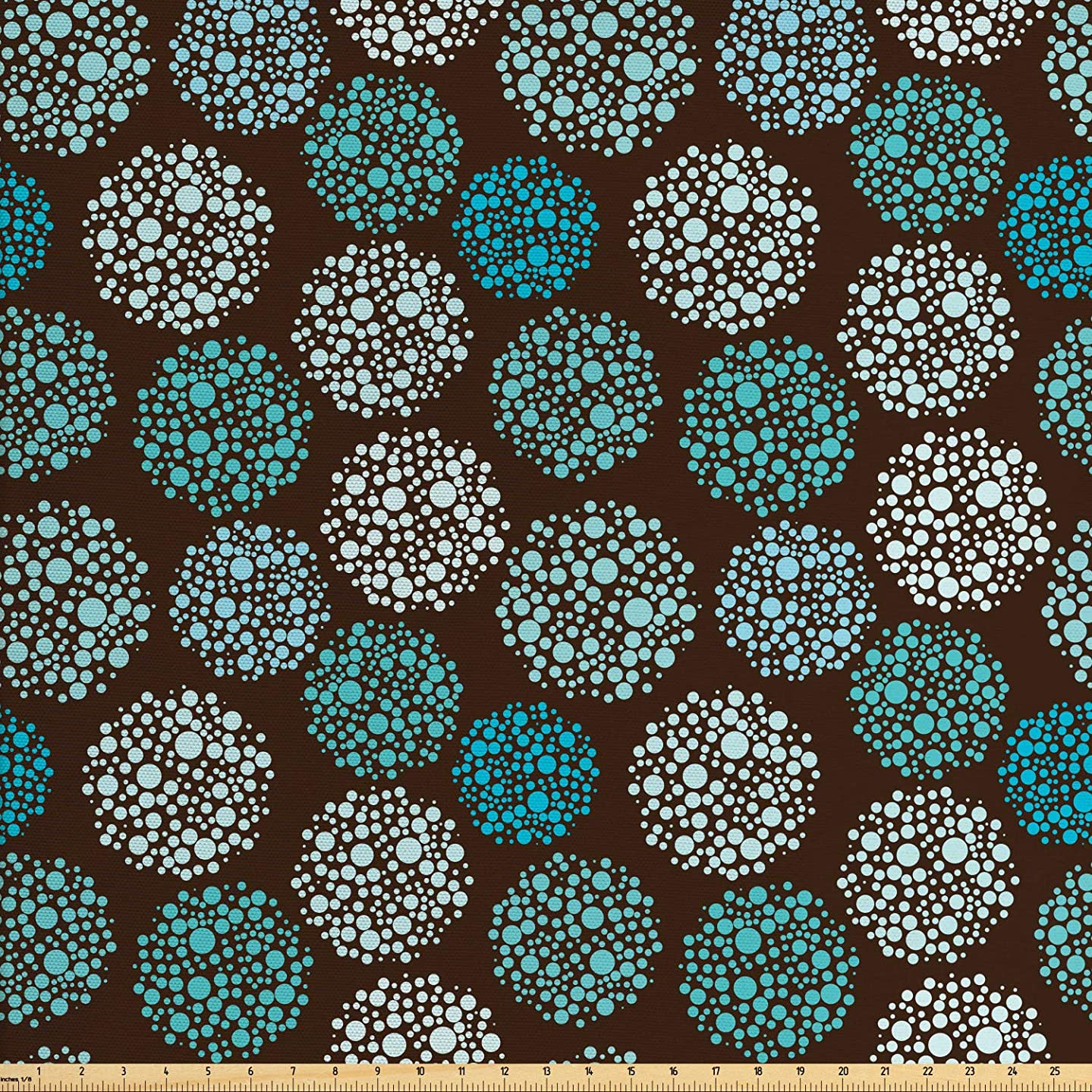 Ambesonne Brown and Blue Fabric by The Yard, Dots Forming Oval Shapes Retro Style Abstract Geometric Vintage, Decorative Fabric for Upholstery and Home Accents, 3 Yards, Brown Turquoise White