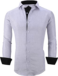 Mens Printed Dress Shirts Wrinkle Free Long Sleeve Regular Fit Casual Button Down Shirt
