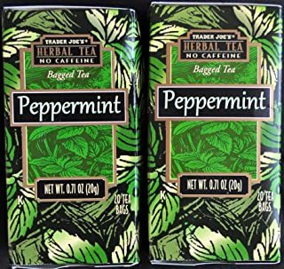 Trader Joes Peppermint Tea TWO PACK -- 40 Tea Bags -- Herbal No Caffeine