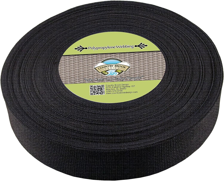 Country Brook Design   Black Polypropylene 2 Inch Webbing (100 Yards)